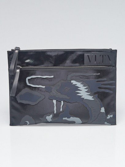 Valentino Black/Grey Leather Dragon Embroidered Zip Clutch Bag