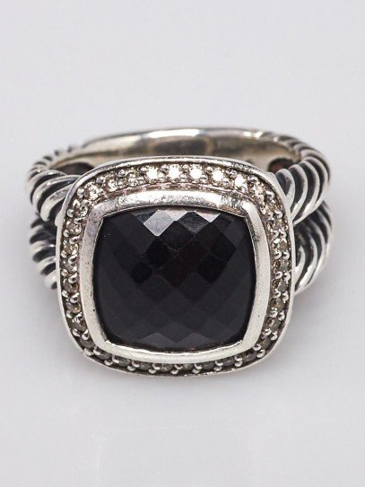 David Yurman 11mm Black Onyx and Diamond Albion Ring Size 7