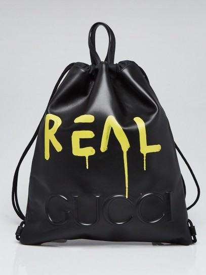 """Gucci Black Leather Ghost Printed """"Real"""" Drawstring Backpack"""