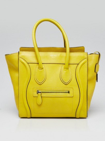 Celine Yellow Drummed Leather Micro Luggage Tote Bag