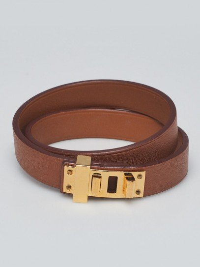 Hermes Gold Leather Mini Dog Double Tour Bracelet Size T3