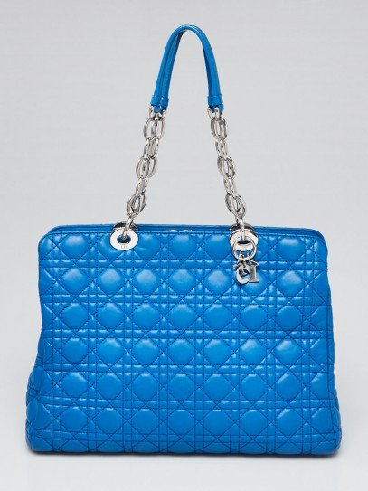 Christian Dior Blue Quilted Cannage Lambskin Leather Dior Soft Medium Zipped Shopping Tote Bag