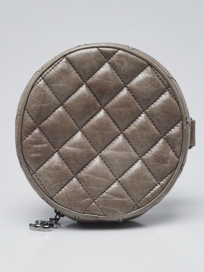 Chanel Grey Quilted Aged Calfskin Leather Round Clutch Bag