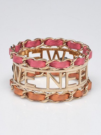 Chanel Goldtone Metal and  Leather Entwined 'Tweed we Need' Bangle Bracelet