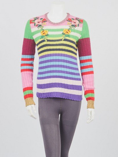 Gucci Multicolor Striped Knit Floral Embroidered Pull Over Sweater Size S