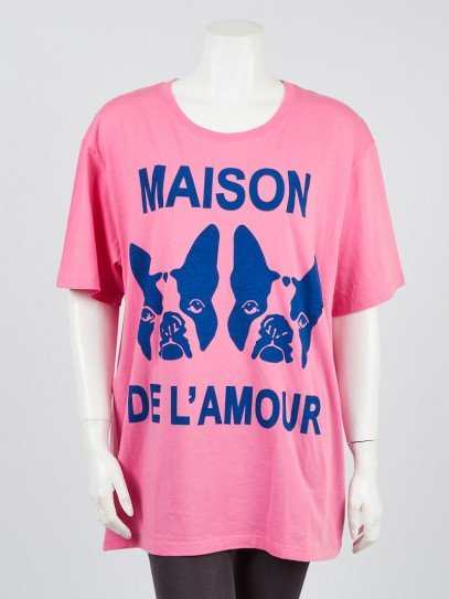 Gucci Pink Cotton Bosco & Orso Printed Oversized T-shirt Size XL