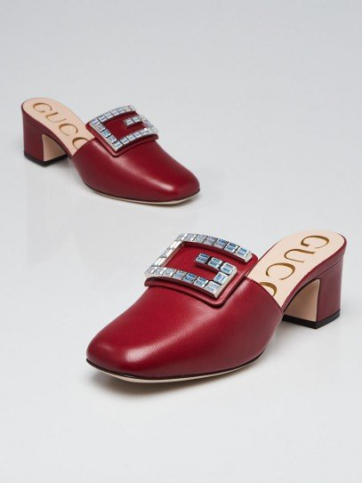 Gucci Romantic Cerise Leather Madelyn Mules Size 4.5/35