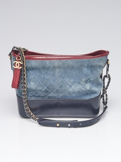 Chanel Blue Quilted Suede and Leather Medium Gabrielle Hobo Bag