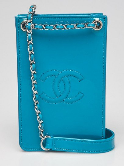 Chanel Turquoise Patent Leather O-Phone Holder Crossbody Bag