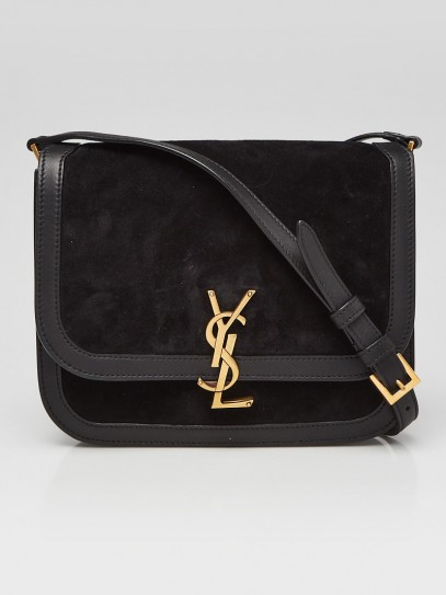 Yves Saint Laurent Black Leather/Suede Medium Solferino Satchel Bag
