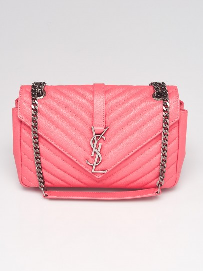 Yves Saint Laurent Pink Chevron Quilted Calfskin Leather Medium Envelope Bag