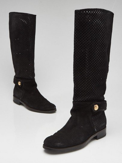 Louis Vuitton Black Perforated Suede Tall Flat Boots Size 8/38.5