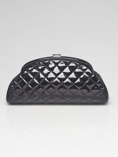 Chanel Black Quilted Patent Leather Timeless Clutch Bag