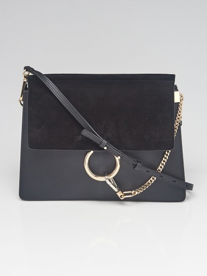 Chloe Black Leather and Suede Faye Medium Shoulder Bag