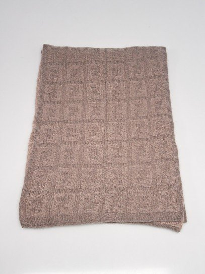 Fendi Grey Wool Monogram Scarf