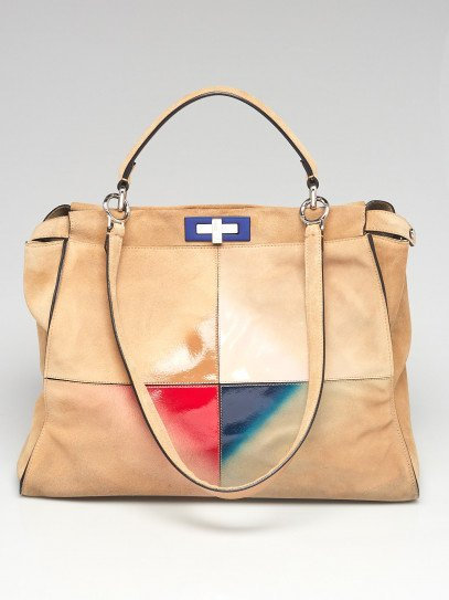 Fendi Beige Suede and Patent Leather Gradient Colorblock Large Peekaboo Bag 8BN210