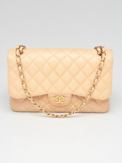 Chanel Beige Clair Quilted Caviar Leather Classic Jumbo Double Flap Bag