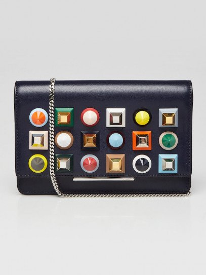 Fendi Navy Blue Leather Studded Wallet on Chain Clutch Bag 8M0346