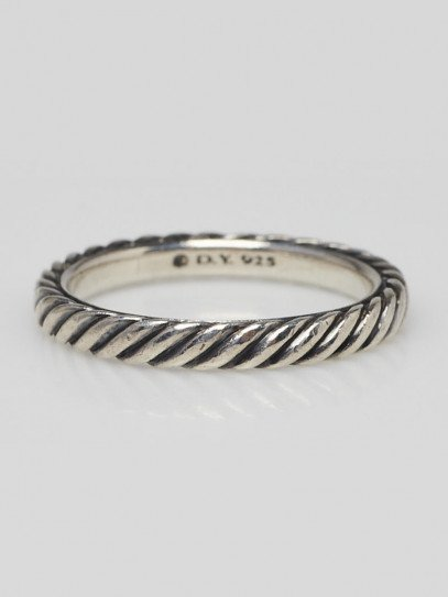 David Yurman Cable Collectibles 3mm Sterling Silver Cable Band Ring Size 6.5
