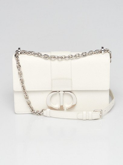 Christian Dior White Grained Calfskin Leather Montaigne 30 Flap Bag