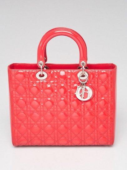 Christian Dior Dark Pink Cannage Quilted Patent Leather Large Lady Dior Bag w/o strap