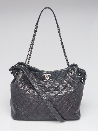 Chanel Black Quilted Glazed Leather CC Tote Bag