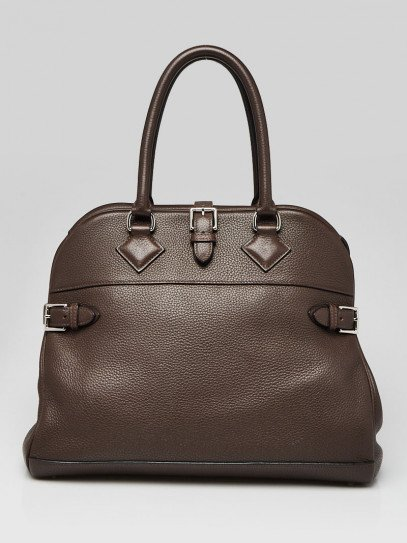 Hermes 35cm Cacao Clemence Leather Palladium Plated Atlas Bag