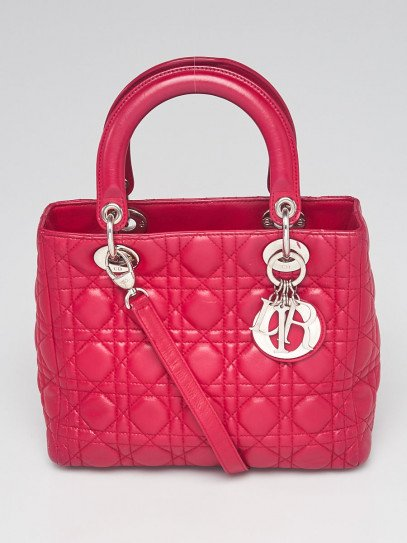 Christian Dior Dark Pink Cannage Quilted Lambskin Leather Medium Lady Dior Bag