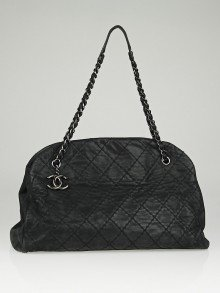 Chanel Black Iridescent Quilted Leather Just Mademoiselle Large Tote Bag