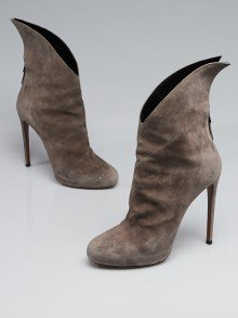 Alaïa Grey Suede Winged Ankle Boots Size 9.5/40