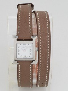 Hermes Etoupe Swift Leather Stainless Steel Heure H Small Double Tour Quartz Watch