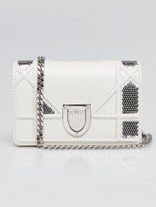 Christian Dior White Cannage Quilted Lambskin Leather and Sequin Baby Diorama Flap Bag