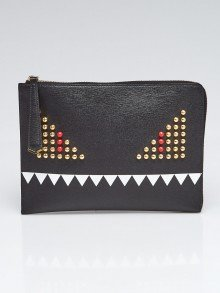 Fendi Black Saffiano Leather Monster Clutch Bag 8M0363