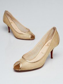 Christian Louboutin Gold Mesh and Leather Peep-Toe Pumps Size 8.5/39