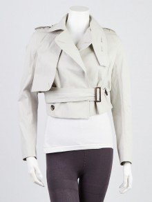 Rick Owens Beige Cotton Cropped Trench Jacket Size 2