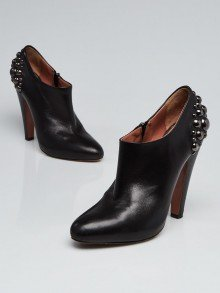 Alaïa Black Leather Studded Booties Size 8.5/39