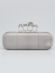 Alexander McQueen Grey Python Knuckle Box Clutch Bag