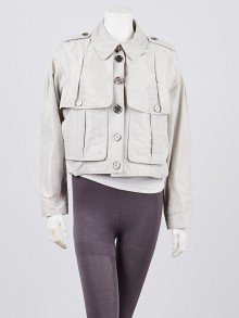 Burberry London Grey Polyester Cropped Jacket Size 10