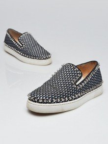 Christian Louboutin Blue/Black/Silver Fabric Spiked Flat Boat Shoes Size 6/36.5