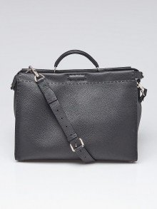 Fendi Black Selleria Leather Medium Peekaboo Bag 7VA388