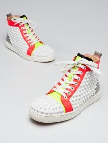Christian Louboutin Fluo White Leather Spikes Louis High-Top Sneakers Size 6.5/37