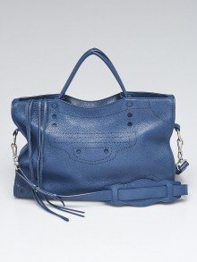 Balenciaga Blue Tanzanite Grained Calfskin Leather BlackOut City Bag