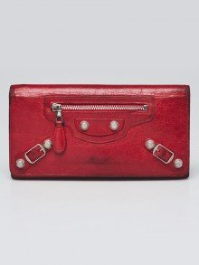 Balenciaga Red Lambskin Leather Giant 12 Silver Bi-Fold Long Continental Wallet