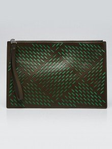 Bottega Veneta Green Perforated Leather Pouch Clutch Bag