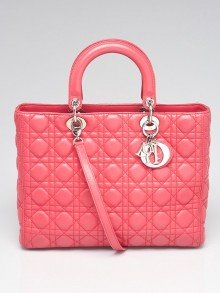 Christian Dior Bright Pink Cannage Quilted Lambskin Leather Large Lady Dior Bag