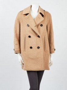 Burberry Brit Beige Wool Blend Peacoat Size 6/40