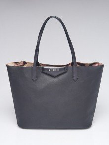Givenchy Black Leather/Leopard Print Shopping Tote Bag