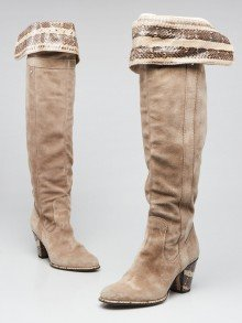 Christian Dior Beige Suede and Snakeskin Tall Boots Size 5.5/36