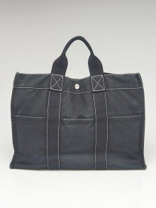 Hermes Black Canvas  Fourre Tout Holdall MM Tote Bag
