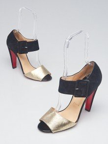 Christian Louboutin Platine Textured Leather and Black Suede Leather Trezotro Sandals Size 9.5/40
